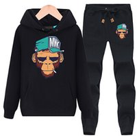 Wholesale Rolls Ankle - Rock And Roll Monkey Hoodies Sweatshirt For Men Casual Top Winter New Mens Sports Tracksuit