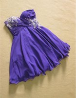Wholesale Sweetheart Lace Beadings - 2018 Newest Dark Purple Chiffon And Ruffle Applique Beadings Short Bridesmaid Dresses For Weddings Sweetheart Backless Knee Length Casual