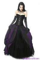 Wholesale Vintage Purple Bridal Gown - Purple and Black Wedding Dresses Corset Gothic Bridal Gown with Asymmetrical Skirt Traditional Wedding Dress Cheap