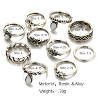 Wholesale Lucky Star Pendant Wholesale - Bohemian 10pc set rings Vitage Elephant Moon Rings Lucky star ring set of rings for women jewelry party hip hop jewelry engraving pendants