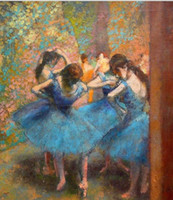 Wholesale famous paintings prints - Blue Dancers By Edgar Degas Pure Handicrafts Famous Fine Art oil painting On High Quality Canvas any customized size Available