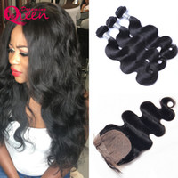 Wholesale Hair Extensions Wholesale India - Body Wave Unprocessed 100% India Virgin Human Hair Extensions 3 Bundles With Silk Base Lace Closure Natural Hairline
