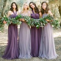 vestido de noche morado talla 12 al por mayor-2019 púrpura tul convertible vestidos de dama de honor baratos cariño sin espalda vestidos de noche más el tamaño de la boda formal vestidos de invitados