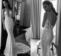 Wholesale Wedding Dresses Crystals Fully - Illusion Jewel Neck Sweetheart Fully 3D Floras Appliques Beaded Wedding Dresses 2018 Elihav Sasson Sleeveless Chapel Train Wedding Gowns
