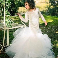 Wholesale Christening Dresses Discounted - Discount White Kids Prom Dresses Lace Applique Long Sleeve Mermaid Tulle Skirt Cute Formal Wedding party Gown Custom Flower Girl Dresses