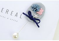 Wholesale Light Brooches - Cheapest Brooch Fashionable Bowknot Flower Star Pearl Decorated Cape Corsage Brooch Light Grey
