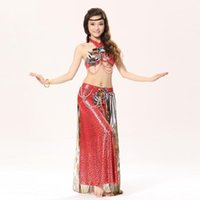 Wholesale Halter Bra Dance - Tribal Women Dance Wear Leopard Print 2-piece Costumes Set Halter Top Bra and Wrapped Skirt Belly Dance Costume Sexy