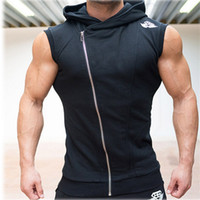 Wholesale Mens Solid Tanks - Wholesale-Mens Sleeveless Sweatshirt Hoodies Top Clothing T-Shirt Hooded Tank Top Sporting Hooded for Men Gym Cotton Solid T Shirts Hooded