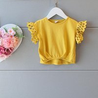 Wholesale Kid Girls Fashion Tops - New Arrival Summer Kids Girls Lace Sleeve Yellow Tees Ruffles Cotton Cute Baby Girls Fashion Tops Fly Sleeve Tees