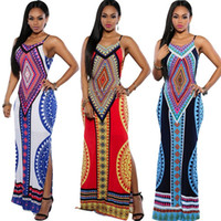 Frauen-Sommer-Maxi Kleid 2016 Bodycon-Partei-Kleid plus Größe Vestidos Sexy Sommerkleid Backless Verband Dashiki Boho langes Kleid