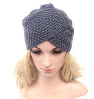 Wholesale Top Ear Cuff - Handmade High Quality Women Elastic Cuffed Knitted Hat Winter Beanie Boho Beret Knit Ear Protect Headband Bonnet Girl Cap Tocas