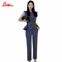 costumes d'affaires rayures achat en gros de-En gros-Qiqi New 2016 Automne Mode Femmes Affaires OL Travail de Bureau Pantalon Costumes Stripe plus la Taille Ruffles Costumes Pour Femmes 2 Pièces Ensemble
