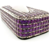 Wholesale High Grade Hand Made Diamante Diamond Crystal Tissue Paper Box Holder Purple