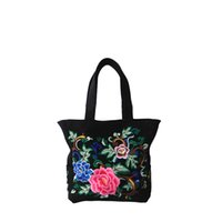 Wholesale Beautiful Chinese Women - Fashion tradition style peony embroidery cotton bag 1pcs drop ship Chinese Style Sling Bag swagger bag beautiful Shoulder bag
