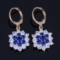 Lady Best Gift Blue Sapphire White CZ Diamante Drop Flower Earrings, 18K ouro amarelo banhado brincos X0133