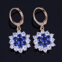 pendientes de zafiro azul oro al por mayor-Lady Best Gift Blue Sapphire White CZ Diamond Drop Pendientes de flores, 18 quilates de aro de oro amarillo plateado X0133