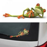 rana pegatinas de coches al por mayor-3D Frogs Funny Car Stickers car styling Nueva llegada vinilo calcomanía pegatina decoración Alta temperatura a prueba de agua