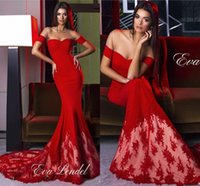 Wholesale Long Gowns Fancy Backs - Sexy Red Fancy New Lace Arabic Mermaid Prom Dresses 2016 African Long Satin Sheer Crew Neck Formal Evening Party Gown with Off Shoulders