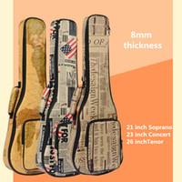 Wholesale Waterproof Gig Bag - Wholesale- 10mm Thick Leather Canvas Waterproof Soprano Concert Tenor Ukulele Bag Case Backpack 21 23 26 Inch Ukelele Guitar Gig