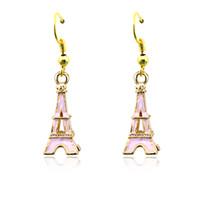 Wholesale Eiffel Earrings - Fashion Bohemian Style Charms Earrings Stainless Steel Hooks Dangle Enamel Eiffel Tower Earrings For Women Jewelry