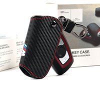 Wholesale Carbon Fiber Key Case - Auto Leather Carbon Fiber Key Case Cover Holder Chain M Logo Sticker For Bmw E60 E36 F30 F10 F20 X3 Z4 E90 E88 E91 X1 X5 X6 M1 Accessories