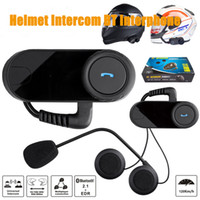 Wholesale Intercom Headset For Helmet - Motorcycle Bluetooth Intercom Headset Motorbike Helmet Bluetooth Intercom Headset Support NFC Tech Up to 800M for cellphone with package