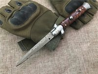 "Wholesale Top Quality Damascus Knives - Top Quality 9"" Italy AKC Damascus AUTO Tactical Folding Knife Snake Wood Handle EDC Pocket Knives Gift Keychain Knife Xmas Gift"