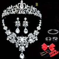 Wholesale Headdress Classic Fashion - New Shinny Luxury Bridal Jewelry Sets Crystal Wedding Crown Earrings Necklace Tiaras Accessories Fashion Headdress Bridal Accessories
