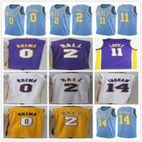 Wholesale Brook S - 2017 2018 New Style #2 Lonzo Ball Jersey White Purple Yellow Stitched #0 Kyle Kuzma #11 Brook Lopez #14 Brandon Ingram Basketball Jerseys