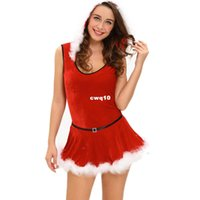 Wholesale Sexy Female Santa Costumes - Sexy Girl Lovely Woman Cosplay intimate Christmas for women Soft Fur Trim Red Santa Teddy and Skirt Costume size S M L