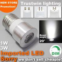 lámpara de haz de luz al por mayor-15 20 grados Mini bulbo estrecho ángulo de haz 12V 110V 220V lámpara de luz del punto regulable proyector 1W 3W GU10 E27 MR11 MR16 LED