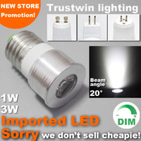 proyector led 3w mr16 12v al por mayor-15 20 grados Mini bulbo estrecho ángulo de haz 12V 110V 220V lámpara de luz del punto regulable proyector 1W 3W GU10 E27 MR11 MR16 LED