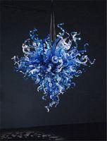 luz colgante de cristal azul moderno al por mayor-Modern Smart 100% Hand Chandelier Glass Chandelier, Blue Beautiful Crystal Colgante Light, Fancy LED luz de techo pequeña decoración Crystal Light