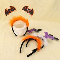Wholesale Girls Bat Costumes - Fashion New Halloween Hair Sticks Baby Girls Bat Hairband Hair Accessories Bow Prank Party Feather Hair Clasp Cosplay Costume Headband A7606