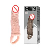 Wholesale Dildo Sleeve - BAILE Sex Products For Men Reuseable Penis Sleeves Realistic Dildo Penis Ring Extender Cock Ring Enlarger Sex Toys BI-026210