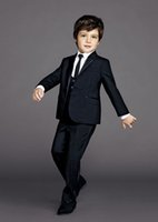 Wholesale Wedding Suit Green Boys - Kid's 3 Piece Wedding Formal Groom Tuxedos Flower Boys Children Party Prom Suits