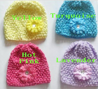 "Wholesale Wholesale Sunny Baby - 100pcs baby waffle crochet hats hair flowers clips sunny soft toddler beanie with 2"" mini daisy flower stretch caps feshion hot sell MZ9112"