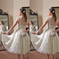 Wholesale Tea Length Open Back Wedding - Vintage Lace Tea Length Wedding Dresses Illusion Jewel Neck Capped Sleeves Open Back Short Bridal Gowns with Beaded Sash