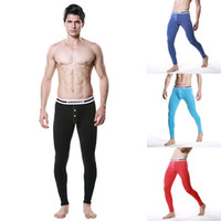 Wholesale Mens Thermal Shirts Pants - Wholesale-Soft Mens Modal Long Johns Warm Thermal Pants Trousers Button Underwear M-XL