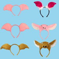Wholesale orange accessories for baby girl online - Animal Pig Baby Children Party Headbands Ears Headband Hair Accessories Kids Cute Hairbands for Girls Bow