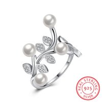 Wholesale Natural White Pearl Ring - Adjustable Wedding Ring 925 Sterling Silver Natural Pearl Gorgeous White Cubic Zirconia Christmas Gifts Engagement Women Ring SVR052