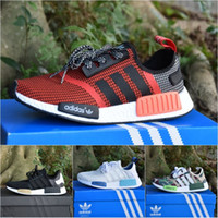 Adidas Mens Originals NMD _R1 Primeknit Runner Boost Running Shoes 2017 Weaving Black Red Grey Blue Green MenWomen Shoes Sneakers With Box