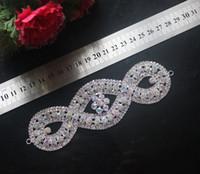 suprimentos de strass venda por atacado-1 pcs lindo strass guarnição nupcial do casamento costurar em apliques de vestido de cristal de prata AB Rhinestone faixa de cinto de abastecimento de casamento