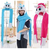 Animal Hat Gloves Scarf 3in 1 Kids Unicorn Dog Plush Cosplay Cartoon Earflaps Paws Fluffy Hood Cap Scarf LJJO3177