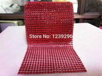 Wholesale Plastic Mesh Trimming - Wholesale-10yards roll 24 Rows Sewing Accessories 4mm Hollow Imitation Red Plastic Rhinestone Mesh Trimming For Wedding Dress