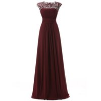 Wholesale Maroon Chiffon - 2017 Stunning Prom Dressess A Line Sheer Neck Capped Lace Appliques Ruched Maroon Chiffon Evening Prom Dress Long Formal Party Wear