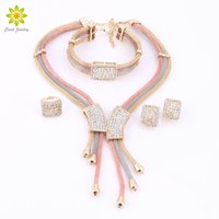 Wholesale Ring Set Costume - Women Jewelry Sets Necklace Earrings Gold Plated Bracelet Ring Jewelry Sets Wedding Party Bridal Accessories Costume Jewelry