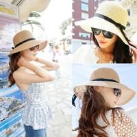 boemia chapéus venda por atacado-Nova Moda Chapéu de Sol das Mulheres de Verão Dobrável Chapéus De Palha Floppy Bohemia Cap Para As Mulheres Praia Headwea