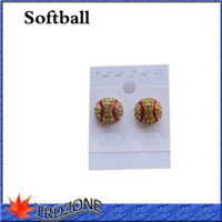 Wholesale Accent Earrings - Crystal Accented Softball Stud Earrings