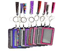 Colliers pendants 10pcs pour epacket Luxe Bling Lanyard Crystal Rhinestone dans le cou avec fermoir ID Pass Card Badge Key Holder choisir les couleurs